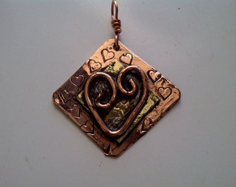 Copper and  Brass heart pendant, soldered