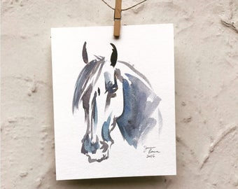 "Horse art original watercolor painting - ""Black and Blue Head Study"""