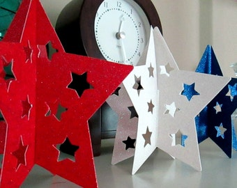 4th of July Glitter Stars Fourth of July Stars Red White and Blue July 4th Decoration Independence Day Home Decor Patriotic Nautical Beach