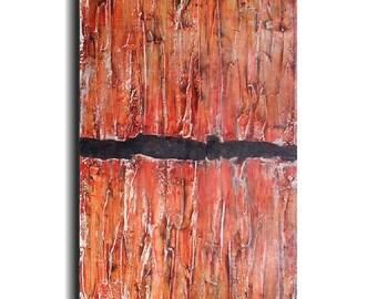 Large abstract painting industrial artwork textured original art by jmjartstudio  orange painting gift for her
