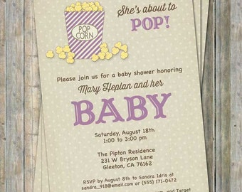 She's about to pop, popcorn baby shower invitation, baby shower invitation, digital, printable file
