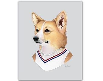 Corgi Dog Lady art print by Ryan Berkley 5x7
