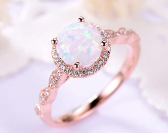 Opal Engagement Ring Halo 14k 18k Rose Gold 925 Sterling Silver CZ Diamond  Marquise Milgrain Wedding Band Antique Anniversary Gift Women Set