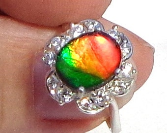 Sz 7,Rare Ammolite,Multi Color Stone,Petrified Stone,Orange Yellow Green,Natural Gemstone,Rare Stone Ring,Gemstone Jewelry,Collectors Stone