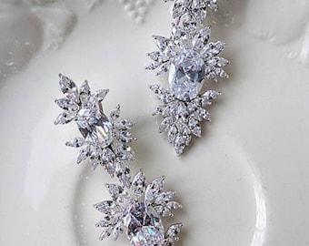Cubic zirconia bridal drop earrings - Elaine