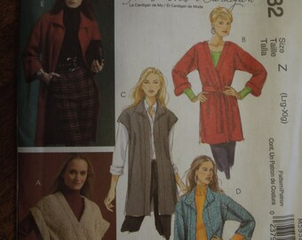 McCalls M5932, sizes L-XLarge, UNCUT sewing pattern, craft supplies, misses, womens, cardigans and belt