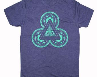 Men's POWER OF 3 Mandala Shirt Psychedelic Visions Screen Printed T-Shirt Sacred GeometryClothing