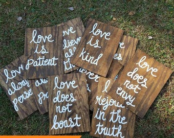 Set of 10 Wedding Aisle Signs, 1 Corinthians 13 Wedding Signs, Love is Patient, Love is Kind, Hand Painted Wood Wedding Signage