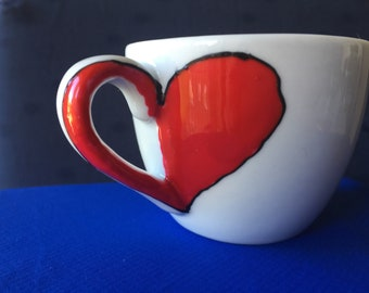 Love in the air! Espresso cup hand painted