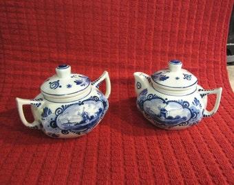 Delft Blue White Hand Painted Windmill Set Teapot Sugar Bowl Delfts Blau Holland