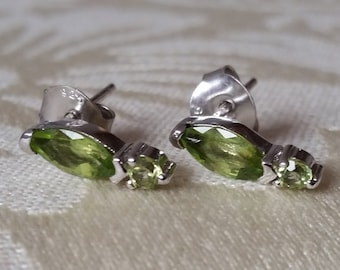 Natural Peridot Sterling Silver Earrings.