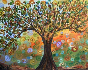 OLIVE TREE  Original Oil Painting on Large 40x30 Canvas by Luiza Vizoli Whimsical Artwork