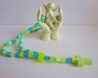Catholic Rosary Made of Lego Bricks - Yellowish Green With Aqua Kids Rosary - First Communion Gift