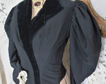 Antique Victorian Black Mourning Blouse Dress Top Gothic Steampunk Period Costume