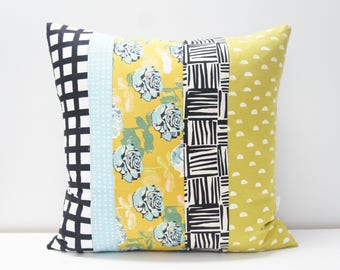 Pillow Cover - Patchwork Pillow Cover, 20x20, black and white, monochrome, lime green and teal floral