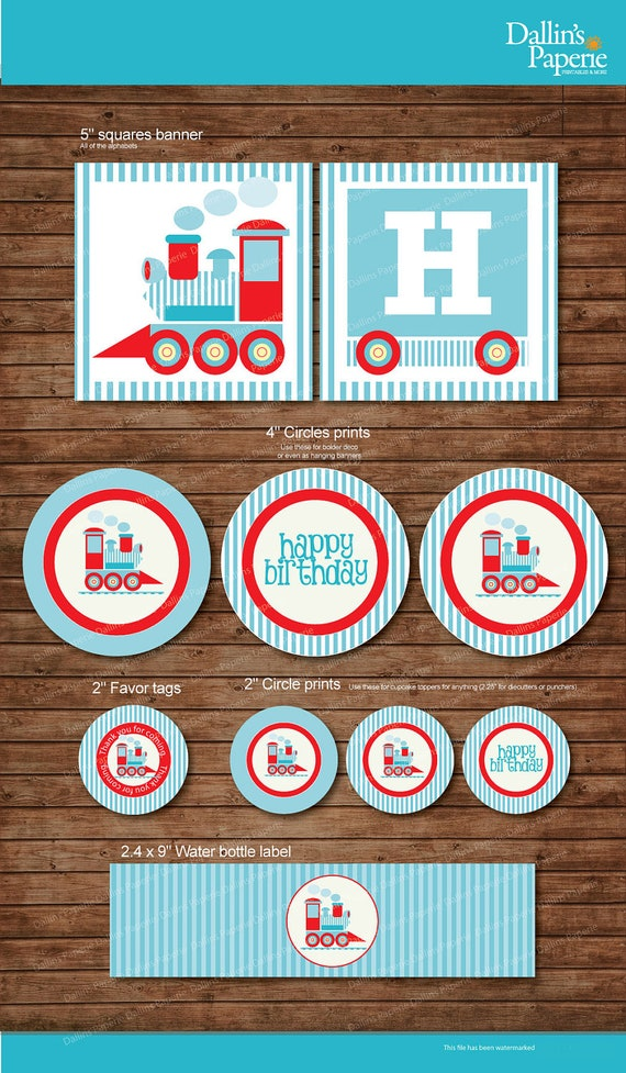 Choo Choo Train Birthday Party DIY Printable Party pack baby