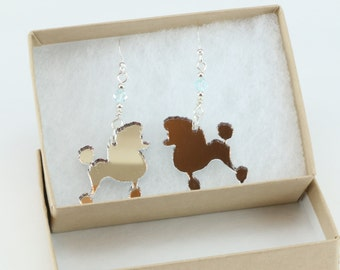 Sparkling Silver Mirror Poodle Dog Laser Cut Earrings with Swarovski Crystals