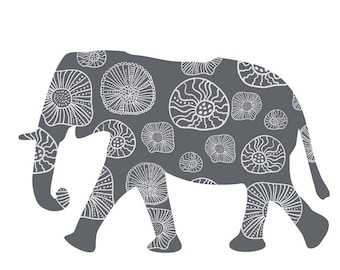 Nursery Wall Decor, Elephant Wall Decal, Grey Elephant decal, Boys bedroom decor, Safari Animal, animal Wall decal, Baby Shower Gift,