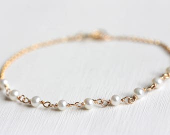 Dainty Freshwater Pearl Bracelet, Gold Filled Jewelry, June Birthstone