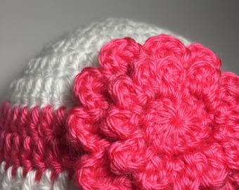 baby hat, baby beanie hat, baby flower hat, crochet hat, cute hat, baby girl hat, newborn hat