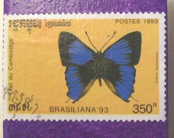 Blue Butterfly Magnets, Mother's Day Gift, 2 Postage Stamps on Ceramic Tile, Teacher Gift - Gardener Gift - Fridge Decor - Locker Magnets