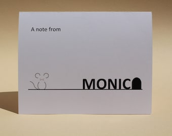 Mouse and Hole - Name Personalized - Custom Blank Notecards - Set of 8