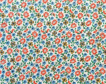 nos fabric remnant//blue, yellow, and orange-red tiny floral print