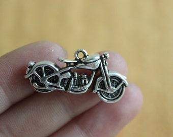 10 pcs 3D Antique silver Motorcycle Charm pendants 34*16mm
