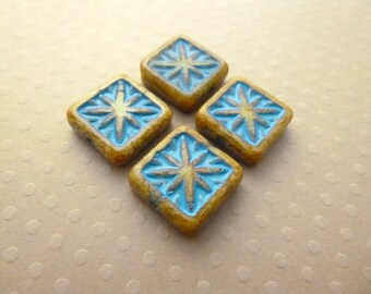 Set of 4 beads square flat blue picasso 15 mm - CB15 1339