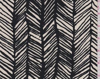 Dark Ivory/Black Herringbone Print Rayon Jersey Knit, Fabric By The Yard