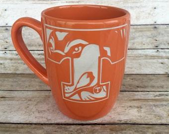 Tennessee Vols, Smokey, Power T, ETCHED, Etched Mug, Coffee Mug, Coffee Cup, Engraved Mug