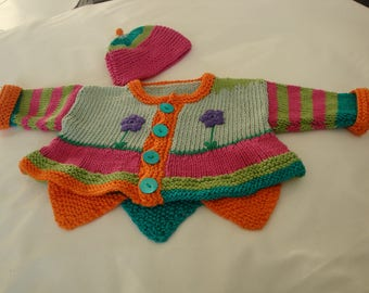 Baby Cardigan, knitted, flowers sewn on.