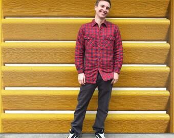 Vintage 1980's Men's Quilted Plaid Flannel