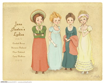 Jane Austen Wall Art Print - The Ladies of Jane Austen - 8x10 Decor - Illustration