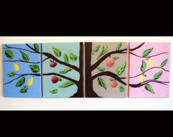 "landscape painting canvas triptych wall art three panel""Fruit Tree"" gallery abstraction conmporary tree of life impasto 72 x24, 80 x 28"