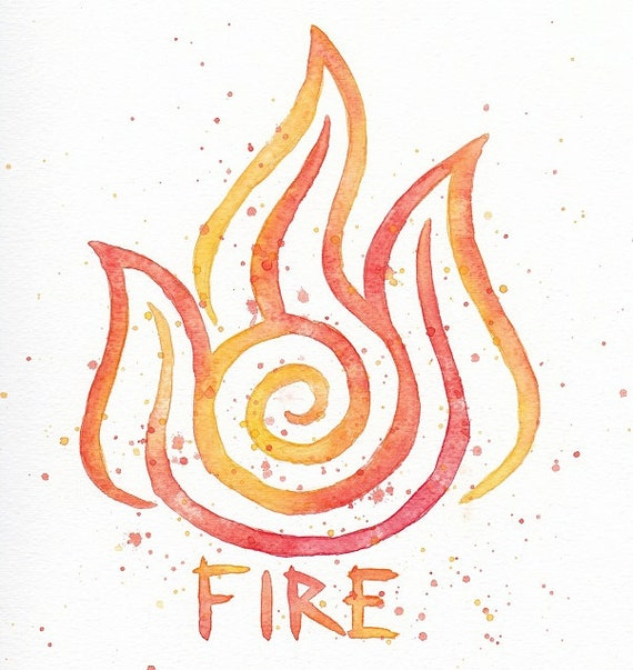 Fire Nation Symbol 10x10 Watercolor Painting Print Zuko