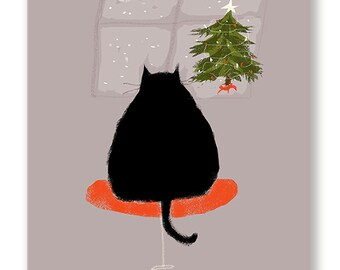 Waitin' Up - Christmas Cat Card - Black Cat