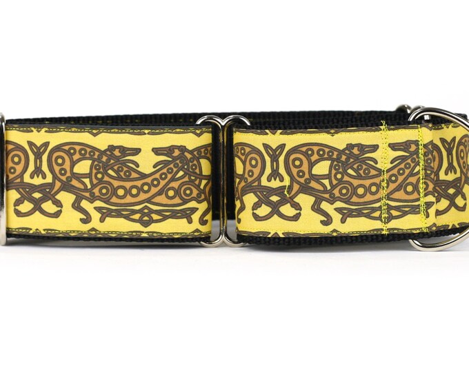 """Greyhound Dog Collar - Celtic Knot in Yellow and Brown- 2"""" Martingale Dog Collar (C-Yellow/Brown)"""