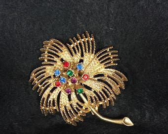 Rhinestone Fireworks Brooch - Fireworks Pin - Vintage Brooch - Vintage Pin - Vintage Rhinestone Brooch Pin - Fireworks Jewelry Gift for Her