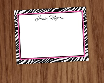 Zebra Flat Note Cards, Animal Print Personalized Stationery Notecards, Personal Stationary for Women, Gifts for Girls Women Ladies