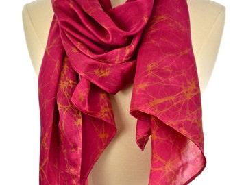 Pink Silk carves,Hand made pink & Brown scarf.Batik long scarf.women's neck wear.