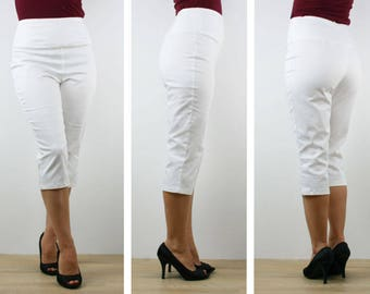 White capri pants, Womens stretch capri pants 3/4 calf length high waisted size 6 8 10 12 14 16 made to order in Australia Vintage Inspired