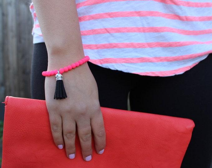 Neon Pink and Black Tassel Beaded Bracelet.