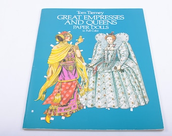 Vintage, Paper dolls, Tom Tierney, Great Empresses and Queens, In Full Color, Detailed, Historical, Royal, Costumes ~ The Pink Room ~ 170314