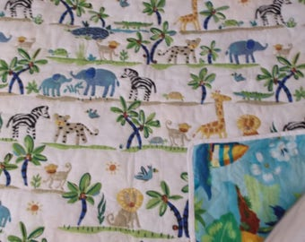 Jungle Print Hand Quilted Blanket