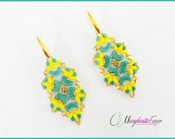 Mango earrings tutorial. Pdf pattern with minos, arcos and superduo beads.