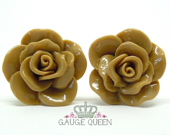 "Chocolate Brown Rose Plugs / Gauges. 4g / 5mm, 2g / 6.5mm, 0g / 8mm, 00g / 10mm, 1/2"" / 12mm, 9/16"" / 14mm"