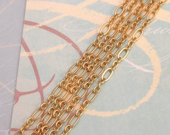 Long And Short Oval Chain Soldered Satin Hamilton Gold 3' AG180