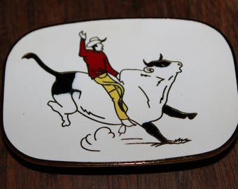 70's Vintage Antique Don Slater RODEO Bull Rider ceramic buckle-Mint Condition