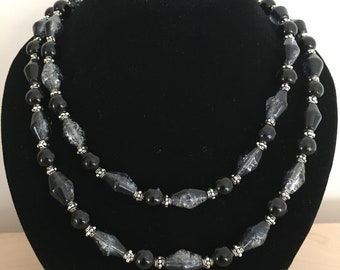 Beaded necklace, black and silver necklace, two strand necklace
